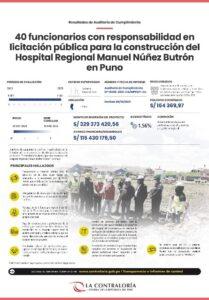 40 FUNCIONARIOS CON RESPONSABILIDAD EN LICITACIÓN PARA LA CONSTRUCCIÓN DEL HOSPITAL REGIONAL MANUEL NÚÑEZ BUTRÓN EN PUNO.